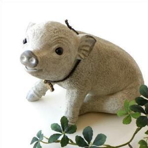 ぶた ブタ 置物 ガーデンオブジェ かわいい 雑貨 ガーデン置物 子豚|gigiliving