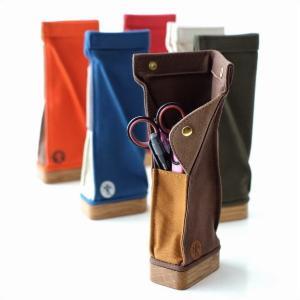 ペンケース スタンド おしゃれ 帆布 木製 日本製 かわいい シンプル 自立型 立つ 縦型 スタンド型ペンケース6カラー|gigiliving