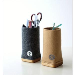 ペン立て メガネスタンド かわいい 木製 壁掛け可 おしゃれ ペンスタンド ペンたて メガネ入れ 眼鏡スタンド 卓上 ウールメルトンと木のペン立て 2カラー|gigiliving|02