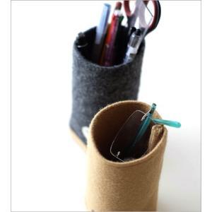 ペン立て メガネスタンド かわいい 木製 壁掛け可 おしゃれ ペンスタンド ペンたて メガネ入れ 眼鏡スタンド 卓上 ウールメルトンと木のペン立て 2カラー|gigiliving|03