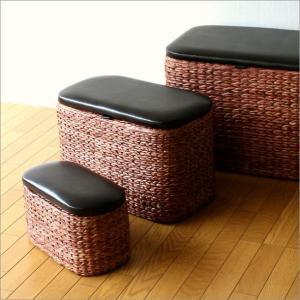 収納ボックス おしゃれ フタ付き 椅子 スツール 収納かご カゴ バスケット アジアン雑貨 シーグラスボックス 3個セット|gigiliving