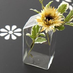 花瓶 花びん 一輪挿し 壁掛け フラワーベース ガラス クリア 透明 シンプル かわいい ハンギングガラスベース ハウス|gigiliving