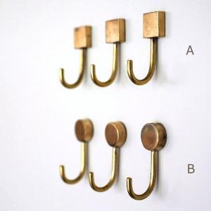 フック マグネット 壁 真鍮 おしゃれ アンティーク レトロ 壁掛け ゴールド 磁石 四角 丸 ブラスマグネットフック2タイプ3個セット|gigiliving