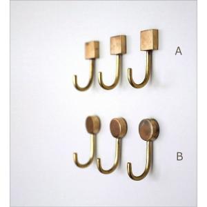 フック マグネット 壁 真鍮 おしゃれ アンティーク レトロ 壁掛け ゴールド 磁石 四角 丸 ブラスマグネットフック2タイプ3個セット|gigiliving|02