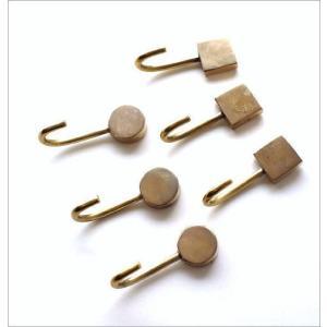 フック マグネット 壁 真鍮 おしゃれ アンティーク レトロ 壁掛け ゴールド 磁石 四角 丸 ブラスマグネットフック2タイプ3個セット|gigiliving|04