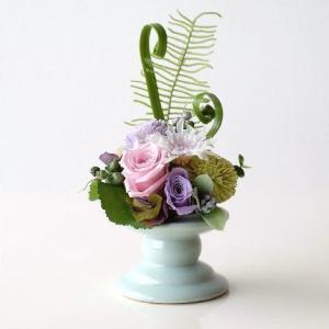 プリザーブドフラワー フェイクフラワー アレンジ 仏花 供花 お供え 仏壇 ペット 花器付き アレンジメント ブリザーブドフラワー メモリアルフラワー想花