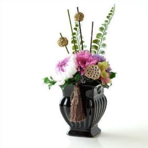 プリザーブドフラワー フェイクフラワー アレンジ 仏花 供花 お供え 仏壇 ペット 花器付き アレンジメント ブリザーブドフラワー メモリアルフラワー花綴