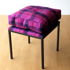 クッションチェア スツール クッション 椅子 おしゃれ 大きい 四角 スクエア 正方形 デザイン エレガント チェック柄 チェアー&クッション パープル|gigiliving