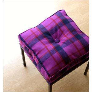クッションチェア スツール クッション 椅子 おしゃれ 大きい 四角 スクエア 正方形 デザイン エレガント チェック柄 チェアー&クッション パープル|gigiliving|02