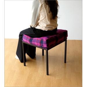 クッションチェア スツール クッション 椅子 おしゃれ 大きい 四角 スクエア 正方形 デザイン エレガント チェック柄 チェアー&クッション パープル|gigiliving|04