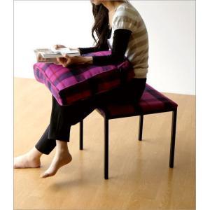 クッションチェア スツール クッション 椅子 おしゃれ 大きい 四角 スクエア 正方形 デザイン エレガント チェック柄 チェアー&クッション パープル|gigiliving|05