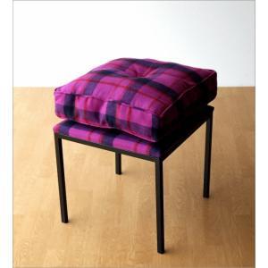 クッションチェア スツール クッション 椅子 おしゃれ 大きい 四角 スクエア 正方形 デザイン エレガント チェック柄 チェアー&クッション パープル|gigiliving|06