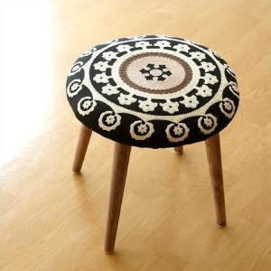 スツール かわいい おしゃれ 刺繍 高さ40cm 低め 木製 可愛い 模様 柄 丸い デザイン いす 丸椅子 丸イス ラウンドチェア サークル刺繍スツール 黒|gigiliving