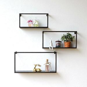 ウォールシェルフ ウォールラック アイアン 壁掛け 棚 壁飾り 飾り棚 壁掛けラック 壁面収納 アンティーク おしゃれ スクエアディスプレイシェルフ3個セットの写真