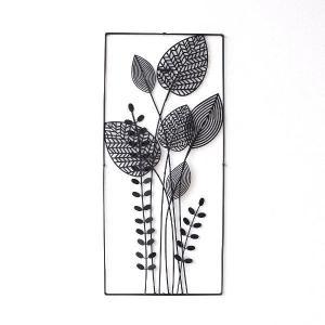 アイアン 壁飾り インテリア 壁掛け アートパネル 花 アートフレーム モノトーン おしゃれ モダン ウォールデコ アイアンの壁飾り シルエットフラワーA|gigiliving
