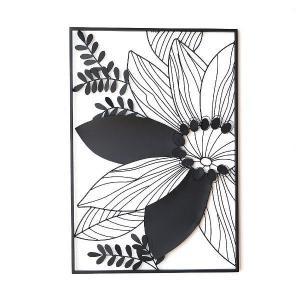 アイアン 壁飾り インテリア 壁掛け アートパネル 花 アートフレーム モノトーン おしゃれ モダン ウォールデコ アイアンの壁飾り シルエットフラワーB|gigiliving