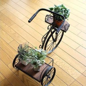 フラワースタンド 花台 鉢台 鉢スタンド 木製 アイアン おしゃれ サイクルプランター シャビーウッド|gigiliving