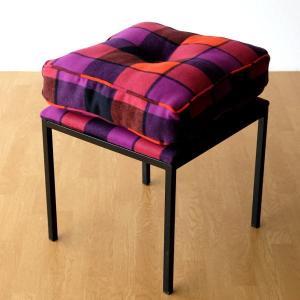 クッションチェア スツール クッション 椅子 おしゃれ 大きい 四角 スクエア 正方形 デザイン エレガント チェック柄 チェアー&クッション オレンジ|gigiliving