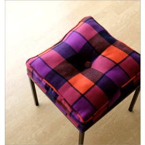 クッションチェア スツール クッション 椅子 おしゃれ 大きい 四角 スクエア 正方形 デザイン エレガント チェック柄 チェアー&クッション オレンジ|gigiliving|02