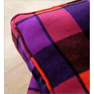 クッションチェア スツール クッション 椅子 おしゃれ 大きい 四角 スクエア 正方形 デザイン エレガント チェック柄 チェアー&クッション オレンジ|gigiliving|03