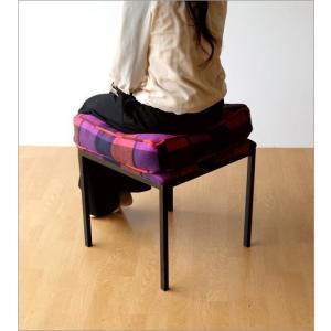 クッションチェア スツール クッション 椅子 おしゃれ 大きい 四角 スクエア 正方形 デザイン エレガント チェック柄 チェアー&クッション オレンジ|gigiliving|04