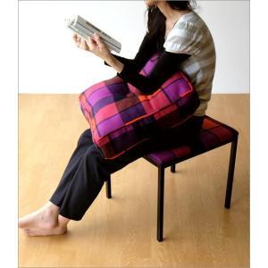クッションチェア スツール クッション 椅子 おしゃれ 大きい 四角 スクエア 正方形 デザイン エレガント チェック柄 チェアー&クッション オレンジ|gigiliving|05