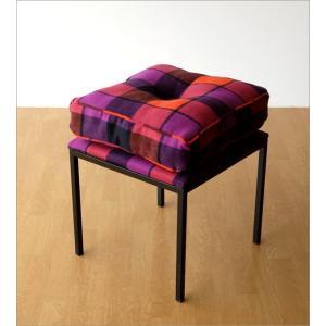 クッションチェア スツール クッション 椅子 おしゃれ 大きい 四角 スクエア 正方形 デザイン エレガント チェック柄 チェアー&クッション オレンジ|gigiliving|06