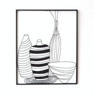 絵画で見るような 花瓶の静物画のアイアンの壁飾りです  白い壁にスッキリと映えるパネルは とてもモダ...