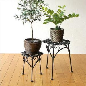花台 フラワースタンド アイアン おしゃれ ガーデンスタンド 花鉢スタンド プラントスタンド 2セット|gigiliving