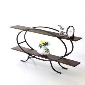 飾り棚 飾棚 木製 アイアン 棚 ラック おしゃれ ディスプレイラック 2段 ディスプレイシェルフ 楕円|gigiliving