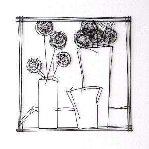 アイアン 壁飾り インテリア 壁掛け アートパネル アートフレーム モノトーン おしゃれ モダン ウォールデコ アイアンの壁飾り 花瓶B|gigiliving