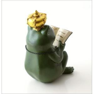 カエル 置物 オブジェ 雑貨 インテリア かえる 蛙 フロッグ 王冠 読書 かわいい おしゃれ 卓上 カエル王子の置物|gigiliving|04