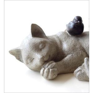 猫 ねこ ネコ 置物 オブジェ 鳥 インテリア 雑貨 かわいい おしゃれ すやすやネコと小鳥の置物|gigiliving|03