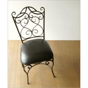 椅子 チェア アンティーク アイアンとレザーのイス|gigiliving|02