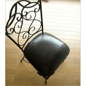 椅子 チェア アンティーク アイアンとレザーのイス|gigiliving|03