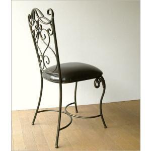 椅子 チェア アンティーク アイアンとレザーのイス|gigiliving|06