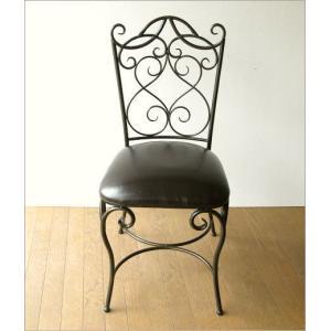 椅子 チェア アンティーク アイアンとレザーのイス|gigiliving|07