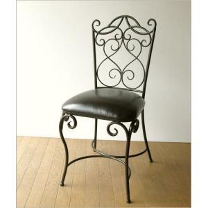 椅子 チェア アンティーク アイアンとレザーのイス|gigiliving|08