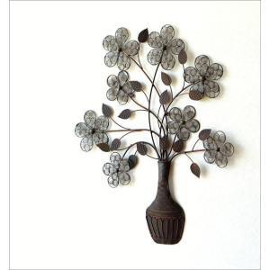 壁飾り アイアン アートパネル 植物 花 フラワー ウォールデコ 壁掛け インテリア おしゃれ アンティーク風 かわいい カフェ アイアンの壁飾り フラワーベース|gigiliving|02