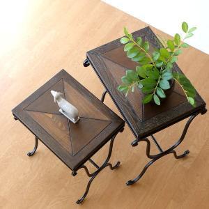 サイドテーブル 木製 おしゃれ アンティーク 花台 ウッドネストテーブル 2サイズセット|gigiliving