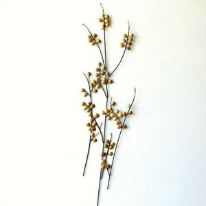 壁飾り アイアン アートパネル 植物 枝 木 ウォールデコ 壁掛け インテリア おしゃれ 和風 モダン かわいい カフェ 玄関 アイアンの壁飾り ゴールドリーフ|gigiliving