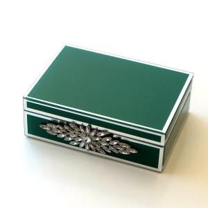 アクセサリーケース ガラス 小物入れ ふた付き 蓋つき ボックス おしゃれ アンティーク 収納ボックス ジュエリーボックス ビジュー付きガラスBOX|gigiliving