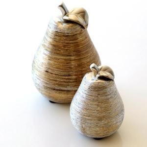 シルバー&ゴールドラインの 陶器製の洋ナシの置物 大小2個セットです  人気の洋ナシの置物は ニュア...