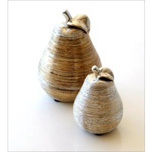 洋梨 置物 オブジェ おしゃれ セラミック 陶器 インテリア シルバー ゴールド 洋ナシのオブジェ 2個セット|gigiliving|02