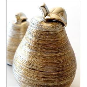 洋梨 置物 オブジェ おしゃれ セラミック 陶器 インテリア シルバー ゴールド 洋ナシのオブジェ 2個セット|gigiliving|03