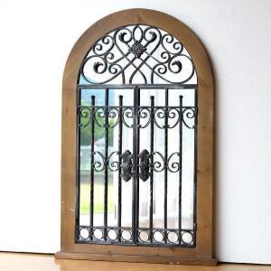 鏡 壁掛け ミラー アンティーク おしゃれ ウォールミラー 木製 アイアン 窓 ウィンドウ クラシック ヨーロピアン レトロ 大きい ウッドとアイアンの窓ミラー|gigiliving