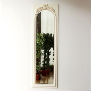 鏡 壁掛け鏡 壁掛けミラー ウォールミラー おしゃれ アンティークホワイトのロングミラー|gigiliving