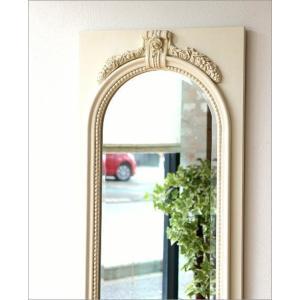 鏡 壁掛け鏡 壁掛けミラー ウォールミラー おしゃれ アンティークホワイトのロングミラー|gigiliving|02