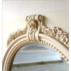 鏡 壁掛け鏡 壁掛けミラー ウォールミラー おしゃれ アンティークホワイトのロングミラー|gigiliving|03
