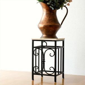 花台 玄関 アンティーク おしゃれ 花瓶敷き 鉢台 鉢置き台 アイアンと大理石の花台|gigiliving